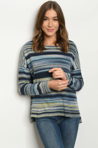 S19-6-1-T8473 NAVY STRIPES SWEATER 2-2-2