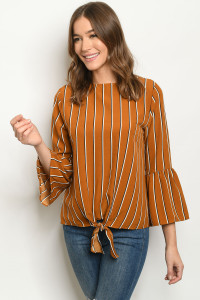 S19-4-1-T12556 MUSTARD STRIPES TOP 2-2-2