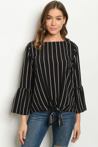 S19-5-1-T12556 BLACK STRIPES TOP 2-2-2