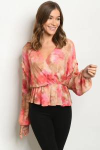 S21-10-2-T8811 ROSE TIE DYE TOP 2-2-2