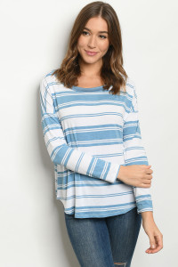 S19-3-1-T8873 BLUE STRIPES TOP 2-2-2
