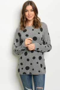 S18-7-1-T20307 GRAY BLACK WITH DOTS SWEATER 4-2-1
