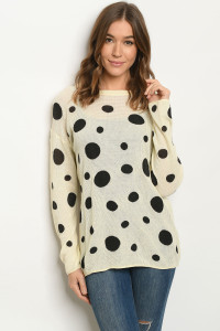 S25-8-1-T20307 CREAM BLACK WITH DOTS SWEATER 2-2-2