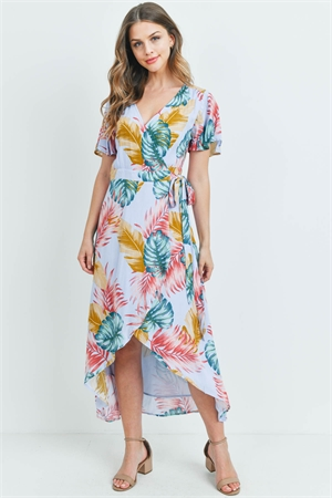 S13-6-1-D3040 BLUE WITH LEAVES PRINT DRESS 2-2-2