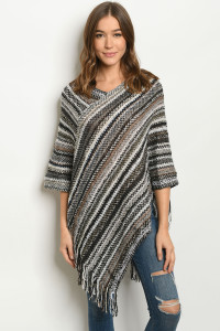 S8-14-2-P4041 BLACK GRAY PONCHO SWEATER / 6PCS