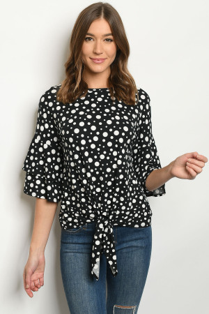 S11-19-1-T1135 BLACK WITH DOTS TOP 1-2-2-1