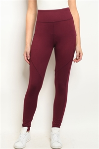 S22-9-1-L1031 BURGUNDY LEGGINGS YOGA PANTS 3-2-2
