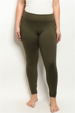 S19-7-1-L1032X OLIVE PLUS SIZE LEGGINGS YOGA PANTS 3-2-2