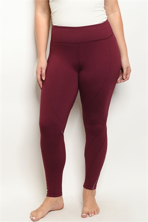 S19-7-1-L1032X BURGUNDY PLUS SIZE LEGGINGS YOGA PANTS 3-2-2