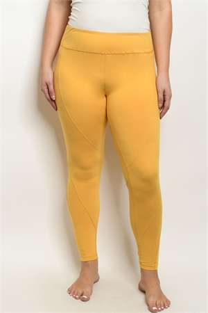 S19-7-1-L1032X MUSTARD PLUS SIZE LEGGINGS YOGA PANTS 3-2-2