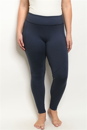 S19-7-1-L1032X NAVY PLUS SIZE LEGGINGS YOGA PANTS 3-2-2