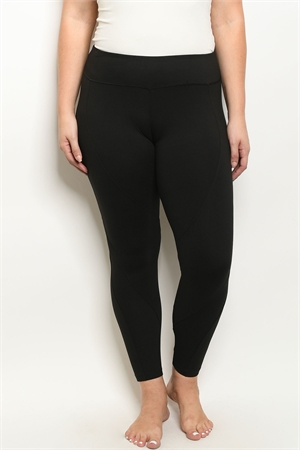 S19-7-1-L1032X BLACK PLUS SIZE LEGGINGS YOGA PANTS 3-2-2