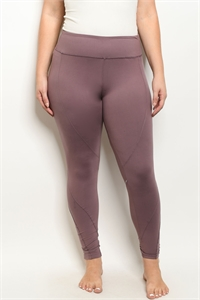 S19-7-1-L1032X MAUVE PLUS SIZE LEGGINGS YOGA PANTS 3-2-2