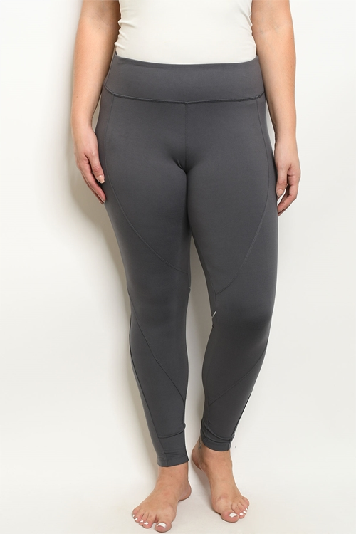 S21-8-1-L1032X CHARCOAL PLUS SIZE LEGGINGS YOGA PANTS 2-2-2