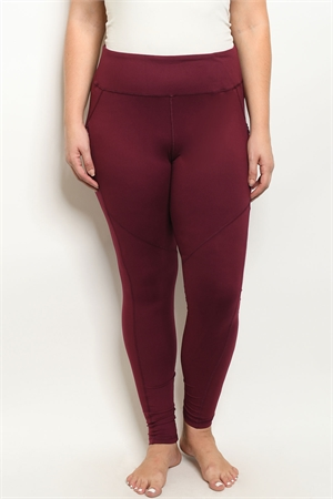 S15-10-1-L1031X BURGUNDY PLUS SIZE LEGGINGS YOGA PANTS 3-2-2