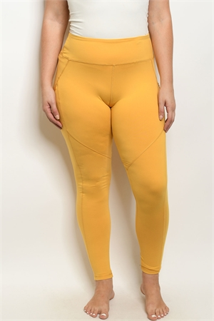 S15-10-1-L1031X MUSTARD PLUS SIZE LEGGINGS YOGA PANTS 3-2-2
