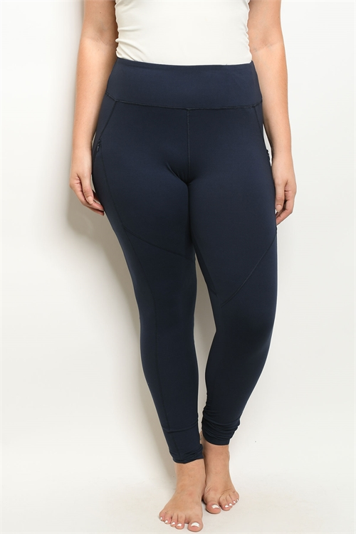 S18-11-2-L1031X NAVY PLUS SIZE LEGGINGS YOGA PANTS 2-2-2