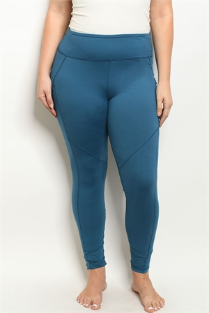 S15-10-1-L1031X TEAL PLUS SIZE LEGGINGS YOGA PANTS 4-2-2