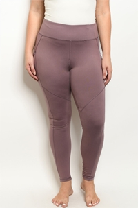 S18-10-1-L1031X MAUVE PLUS SIZE LEGGINGS YOGA PANTS 2-2-2