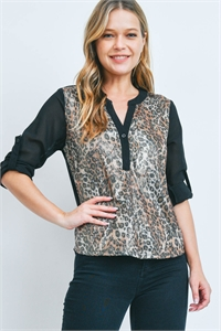 S8-13-1-T2906 BLACK LEOPARD WITH SEQUINS TOP 2-2-2  ***WARNING: California Proposition 65***