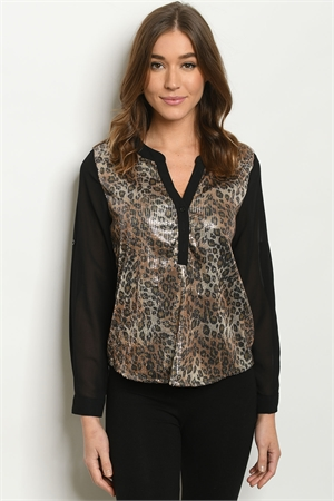 S17-10-3-T2906 BLACK LEOPARD WITH SEQUINS TOP 1-1-1  ***WARNING: California Proposition 65***