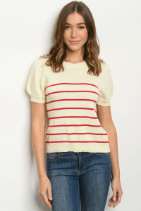 S11-19-2-T3071 IVORY RED STRIPES SWEATER 2-2-2