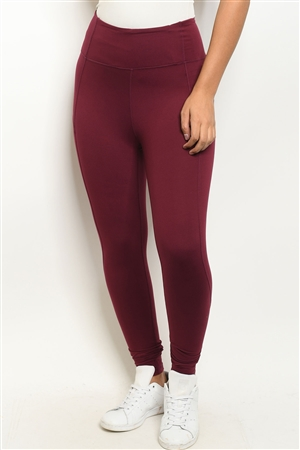 S18-5-1-L1080 BURGUNDY LEGGINGS 2-2-2