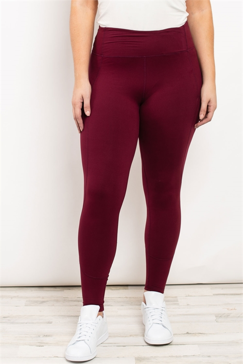 S21-10-1-L1080X BURGUNDY PLUS SIZE LEGGINGS 2-2-2