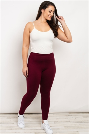 S19-9-2-L1080X BURGUNDY PLUS SIZE LEGGINGS 3-2-2