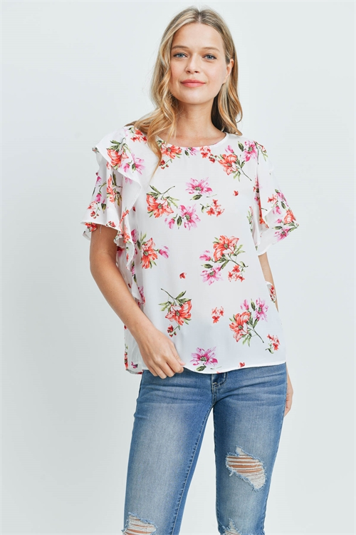 C34-B-1-T51773 WHITE FLORAL TOP 2-2-2