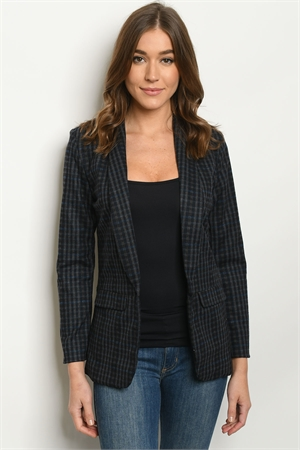 S10-12-1-B8847 NAVY CHECKERED BLAZER 1-2-2-1