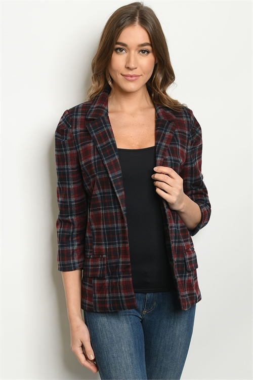 S10-15-1-B8844 NAVY BURGUNDY CHECKERED BLAZER 2-2-2-1