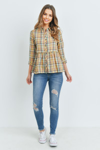 S14-10-3-T2435 MUSTARD CHECKERED TOP 2-2-2