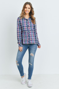 S16-10-1-T2435 NAVY CHECKERED TOP 3-2-2