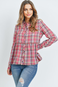S16-10-1-T2435 FUCHSIA CHECKERED TOP 3-2-2