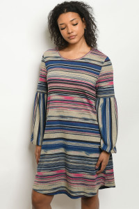 S16-10-2-D2467 BLUE PINK STRIPES DRESS 3-1-2