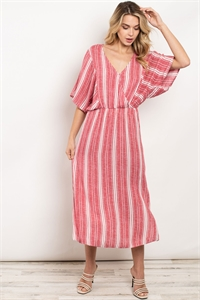 S10-9-1-D3081 RED STRIPES DRESS 2-2-2