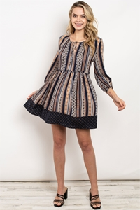 S9-1-1-D7269 NAVY PEACH PRINT DRESS 2-2-2