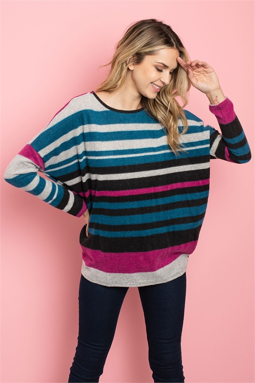 C8-B-2-T2298 TEAL BLACK STRIPES TOP 2-2-2