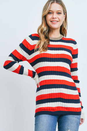 S17-11-1-T8584 NAVY RED STRIPES TOP 1-1