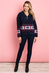 S25-8-1-S14296 NAVY PRINT SWEATER 2-2-2