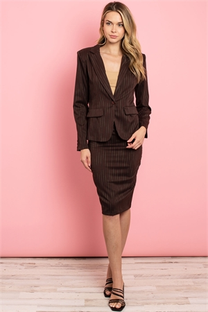 C24-A-1-SET3135 BROWN STRIPES JACKET & SKIRT SET 2-1