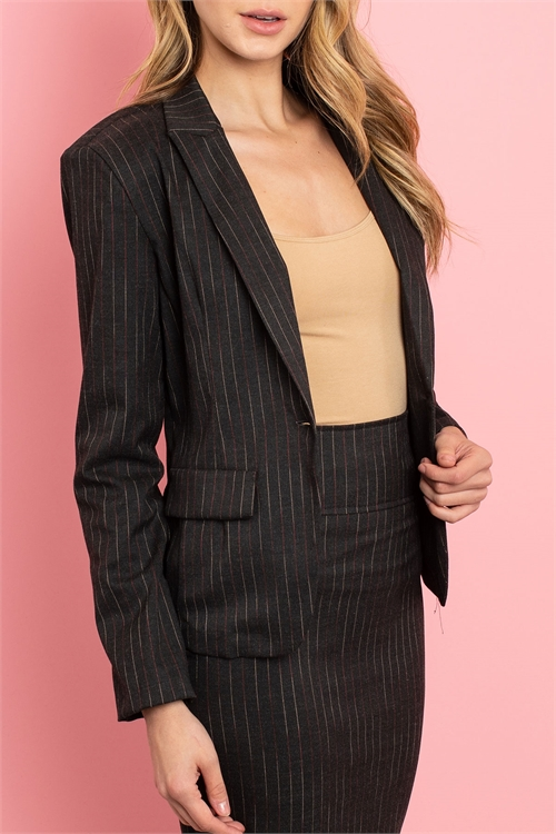 C16-A-2-SET3135 BLACK STRIPES JACKET & SKIRT SET 2-2-2-2