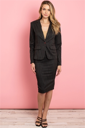 C24-A-1-SET3135 BLACK STRIPES JACKET & SKIRT SET 2-1