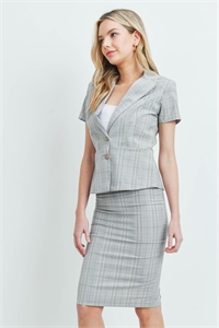 C34-A-1-SET3064 GRAY CHECKERED TOP & SKIRT SET 2-2-2-2