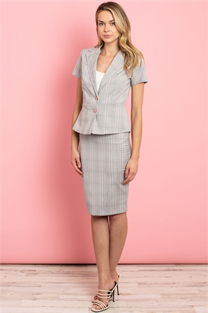 C48-A-1-SET3064 GRAY CHECKERED TOP & SKIRT SET 3-1-2-2