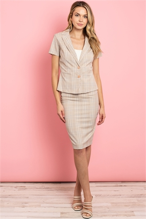 C48-A-1-SET3064 SAND CHECKERED TOP & SKIRT SET 2-1-2-2