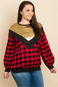 C64-A-2-T2268X BLACK RED GOLD PLUS SIZE TOP 2-2-2