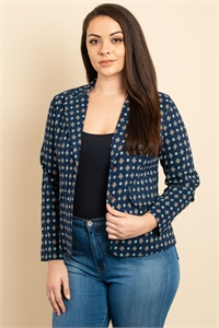 C38-A-1-J3072X NAVY PRINT PLUS SIZE JACKET 2-2-2