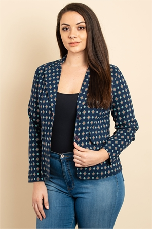 C26-A-1-J3072X NAVY PRINT PLUS SIZE JACKET 3-2-2